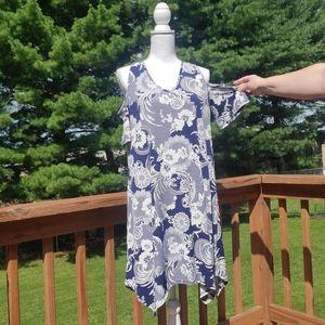 SJS blue white cold shoulder asymmetrical dress L